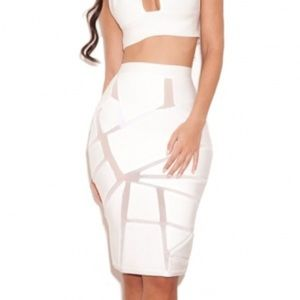 "House of CB ""Shenna"" white bandage skirt size S"